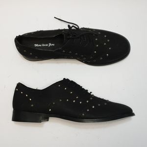 AUS10 Black faux leather studded lace up loafers